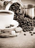 Taza de café, jarra y pote — Foto de Stock