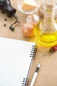Libro de cocina portátil abierto listo para receta — Foto de Stock