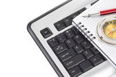 Keyboard and notebook — Stock Photo