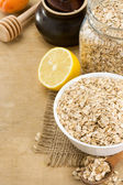 Cereals oat flake and healthy food — Stock Photo