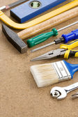 Construction tools on wood — Stockfoto
