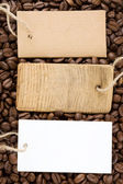 Coffee beans and price tag — Stock Photo
