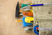 Construction tools and bag — Stock Photo