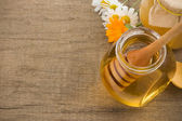 Jar of honey and flowers — Stock Photo