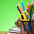Stock Photo: Back to school concept on green