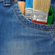 Tool on jeans texture — Stock Photo #10913063