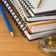 Stock Photo: Notebook and school accessories