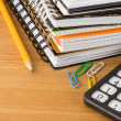 Notesbook and school accessories — Stock Photo