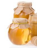 Honey jar isolated on white — Stock Photo