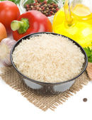 Rice and food ingredient isolated on white — Stock Photo