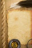 Parşömen eski kağıt ve gemi halatları — Stok fotoğraf