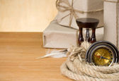Parcel wrapped tied by rope — Stock Photo