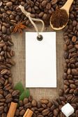 Coffee powder and beans as background — Stock Photo