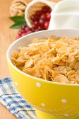 Bowl of corn flakes with berry and milk — Stock Photo