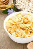 Sağlıklı ve lezzetli mısır gevreği — Stok fotoğraf