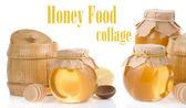Honey jar and pot isolated on white — Stock Photo