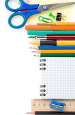 Back to school supplies isolated on white — Stock Photo