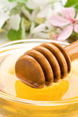 Honey in glass jar and stick with blossom — Stock Photo