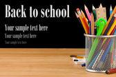 Terug naar school supplies concept en office geïsoleerd op zwart — Foto de Stock