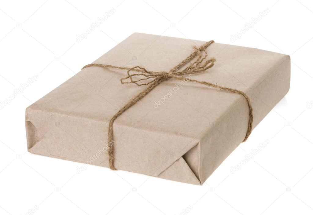 Parcel wrapped and paper tied with rope isolated on white background  Stock Photo #10912957