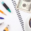 Pens, dollars and coffee — Stock Photo