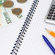 Pens and euros at pad — Stock Photo