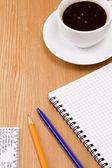 Koffie en binder pad — Stockfoto