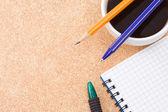 Café e canetas — Foto Stock