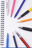 Set of pens and pencils — Stock Photo