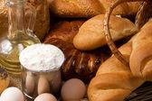 Bakery products on sack — Stock Photo