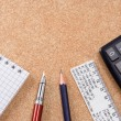 Pad, ruler and pens on table — Stock Photo