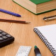 Foto Stock: Pen, pencil, ruler and book