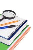 Lente d'ingrandimento, penna e libri — Foto Stock
