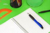 Pennen, potloden, vergrootglas en pad op groen — Stockfoto