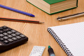 Pen, pencil, ruler and book — Stock Photo