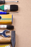 Tools on wood floor — Stock Photo
