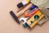 İnşaat araçları ve çanta — Stok fotoğraf