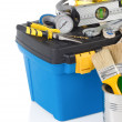 Set of tools and instruments in toolbox - Stock Photo