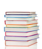 Stack of colorful books isolated on white — Stock Photo