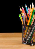 Back to school concept and office supplies isolated on black — Stock Photo