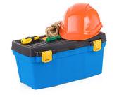 Conjunto de ferramentas na caixa de ferramentas isolado no branco — Foto Stock