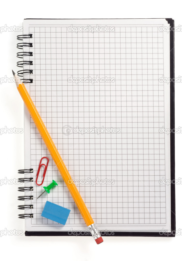 Pencil on checked notebook isolated on white background — Stock Photo #11571783