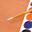 Paintbrush and painters palette — Stock Photo #11624169
