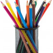 Stock Photo: Holder basket full of colored pencils