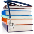 Stock Photo: Books and stethoscope isolated on white background