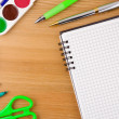 School accessories and notebook on wood table — Stock Photo