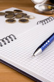 Pen and coin on notepad — Stock Photo