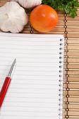 Pad, aglio, prezzemolo e pomodoro con penna a inchiostro — Foto Stock