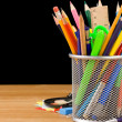 Back to school concept and office supplies on black — Stok fotoğraf