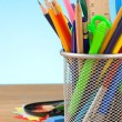 Stock Photo: Back to school concept and office supplies on black